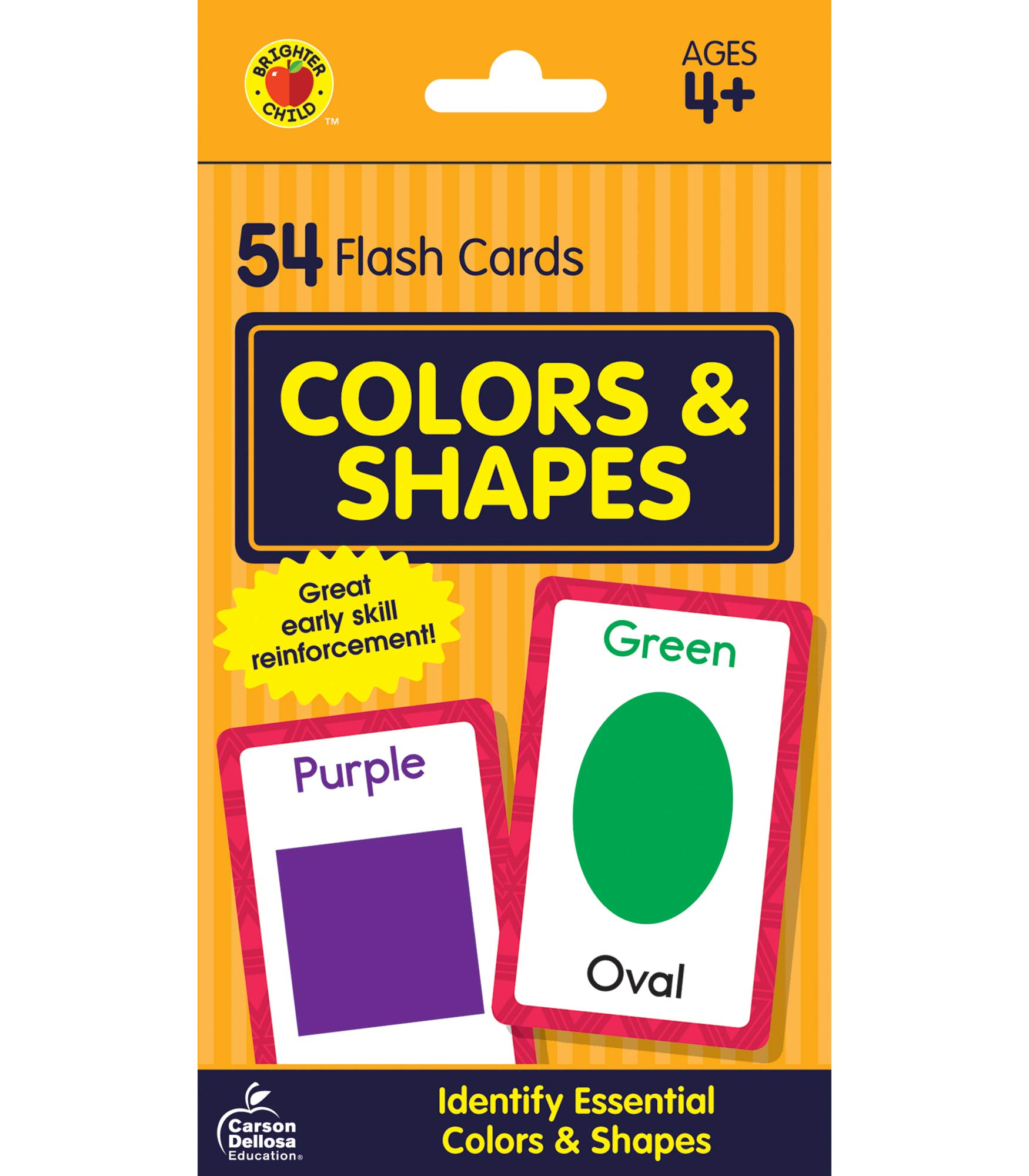 Carson Dellosa Colors and Shapes Flash Cards—Double-Sided, Essential Shapes, Basic Colors, Names With Illustrations, Early Math and Reading Comprehension Practice Set (54 pc)